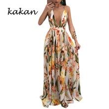 Kakan bohemian beach chiffon dress deep V-neck sling backless print dress large swing size dress bohemian strappy tribal print backless dress