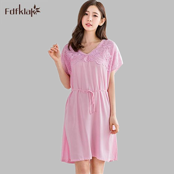 Fashion Women Cotton   Nightgowns     Sleepshirts   2017 Summer Home Dress Sleepwear Loose Comfortable Nightdress Indoor Clothing A711