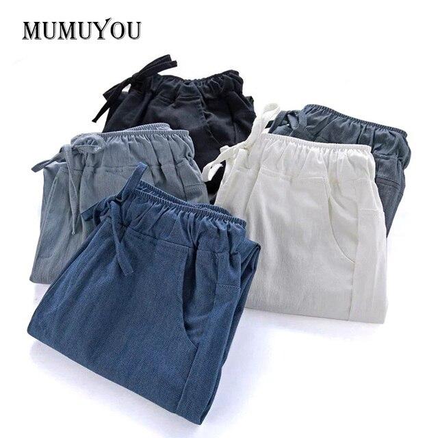 Coton Lin Harem Pantalon Femmes Lâche Baggy Haute Élastique Cordon Taille  Crop Pantalon Pantalons 200- fff98fd2b09b