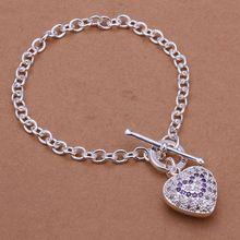 Fina del verano del estilo de plata chapada pulsera 925-sterling-silver joyería del corazón del rhinestone pulseras de cadena para para SB307