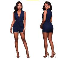 Office Lady Rompers Women Cowboy Jumpsuits Summer V-Neck Silm Waist Sexy Party Playsuit Female Overalls black sexy v neck drawstring waist playsuit with zipper
