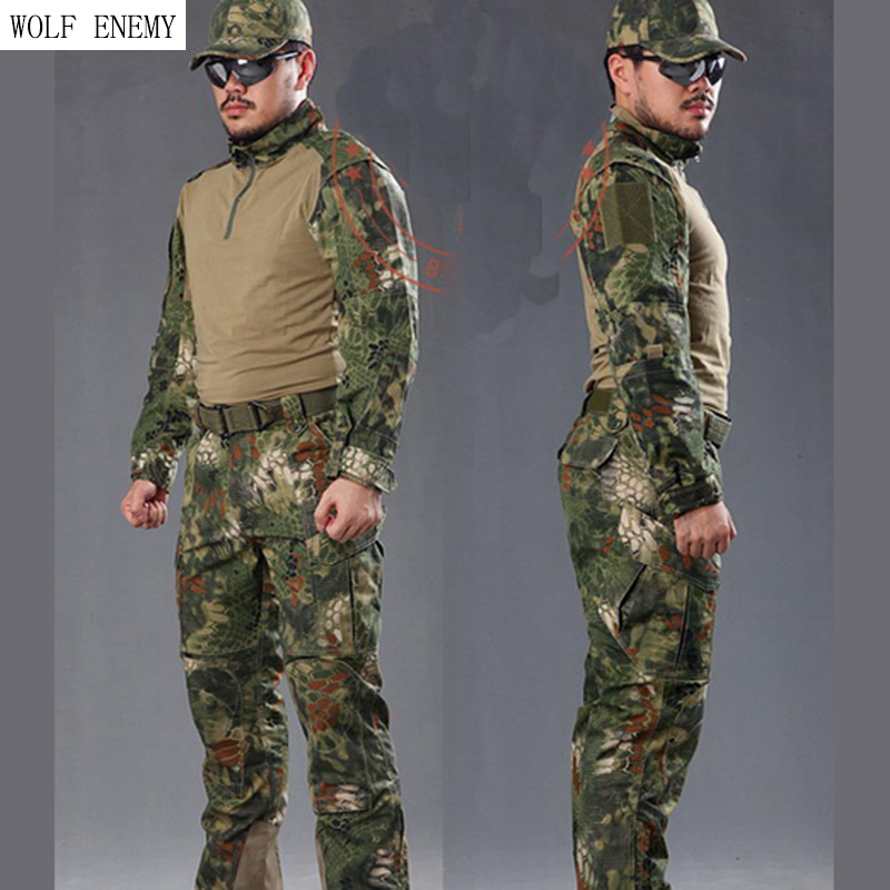 Man Snake Camouflage Military Uniform Army SWAT Equipment Tactical Combat Airsoft Suit P ...