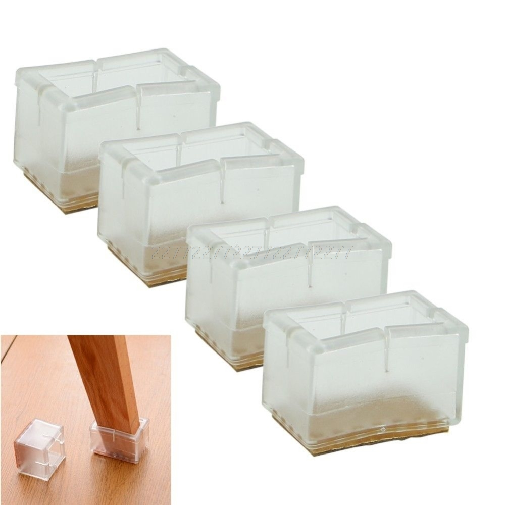 4x Square Chair Leg Cap Feet Silicone Protector Pads Furniture Table Cover Sale