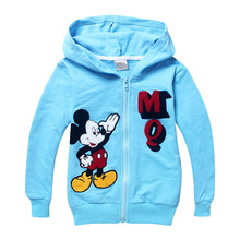 fashion spring and autumn normal size sky blue embroidery character Mickey kids girls hoodies