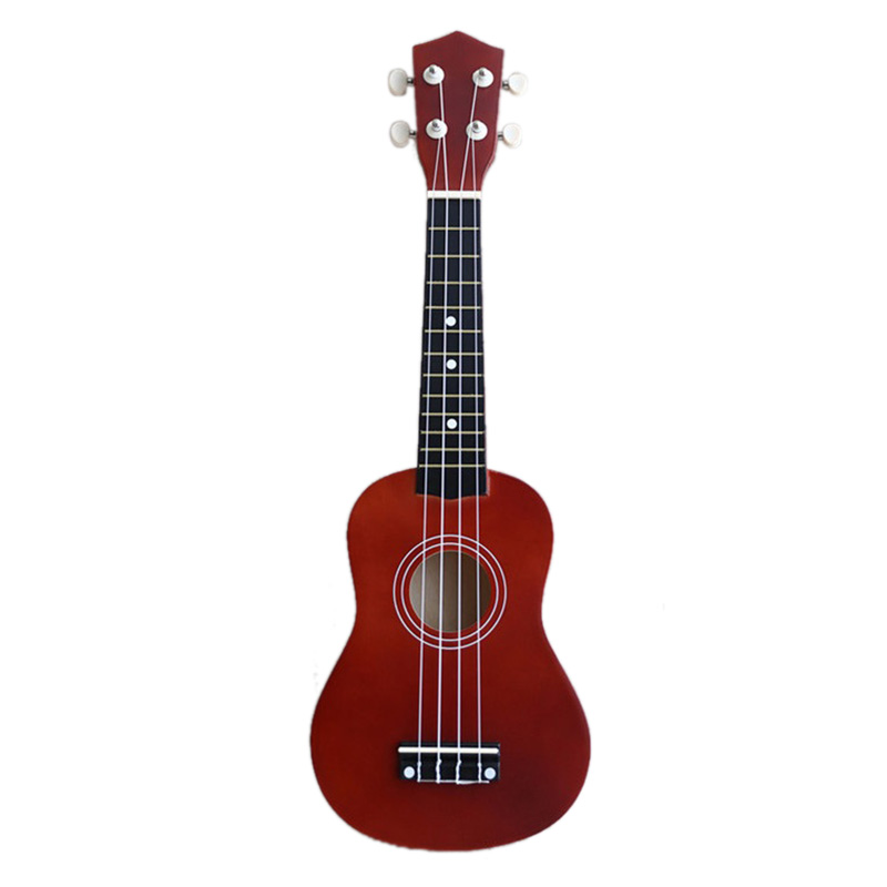 ABLD-21 inch Soprano Ukulele 4 Strings Hawaiian Guitar Uke + String + Pick For Beginners kid Gift(Red brown) Basswood Instrument
