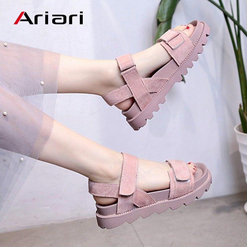 Ariari Sommer Sandalen Für Frauen Mode Frauen Wohnungen Sandalen Ankle Plattform Offene Spitze Schuhe Haken & Schleife Sommer Schuhe Drop Schiff
