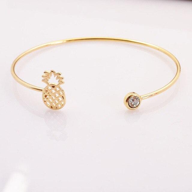 New fashion accessoires bijoux en alliage de cuivre mignon ananas fruits cuff bracelet pour femmes fille beau cadeau B3348