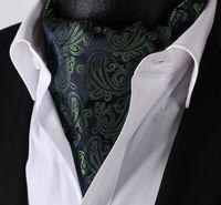 RF306G 녹색 블루 페이즐리 100% 실크 넥타이 넥타이 자카드 짠 캐주얼 애 스콧