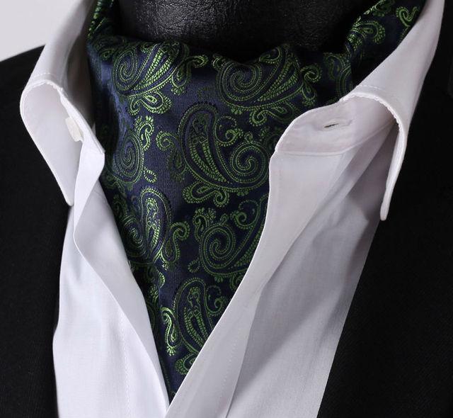 Rf306g verde azul Paisley 100% gravata de seda laços tecido Jacquard Casual lenço