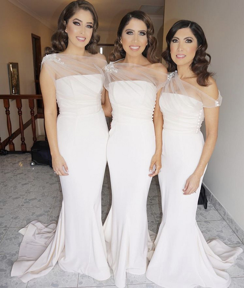 3b19307e5b3 One Shoulder Lace Applique Bridesmaid Gown Peach Ivory Champagne Silver Coral Burgundy  White Satin Mermaid Bridesmaid Dresses