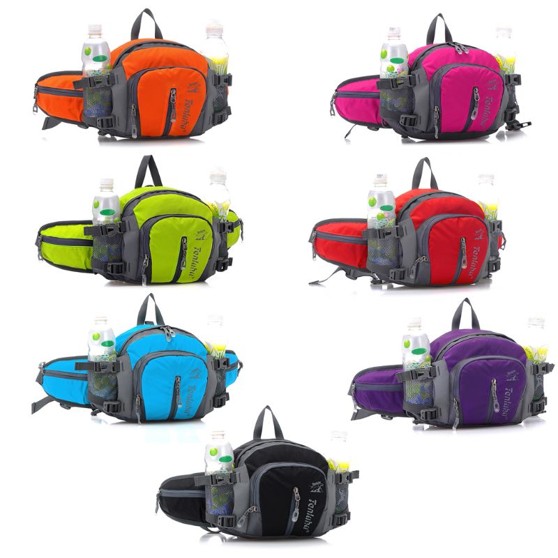 Multifunctional Nylon Sports Waist Bag Outdoor Running Hiking Storage Money Bag Fanny Pack With Large Bicycle Bottle Holder