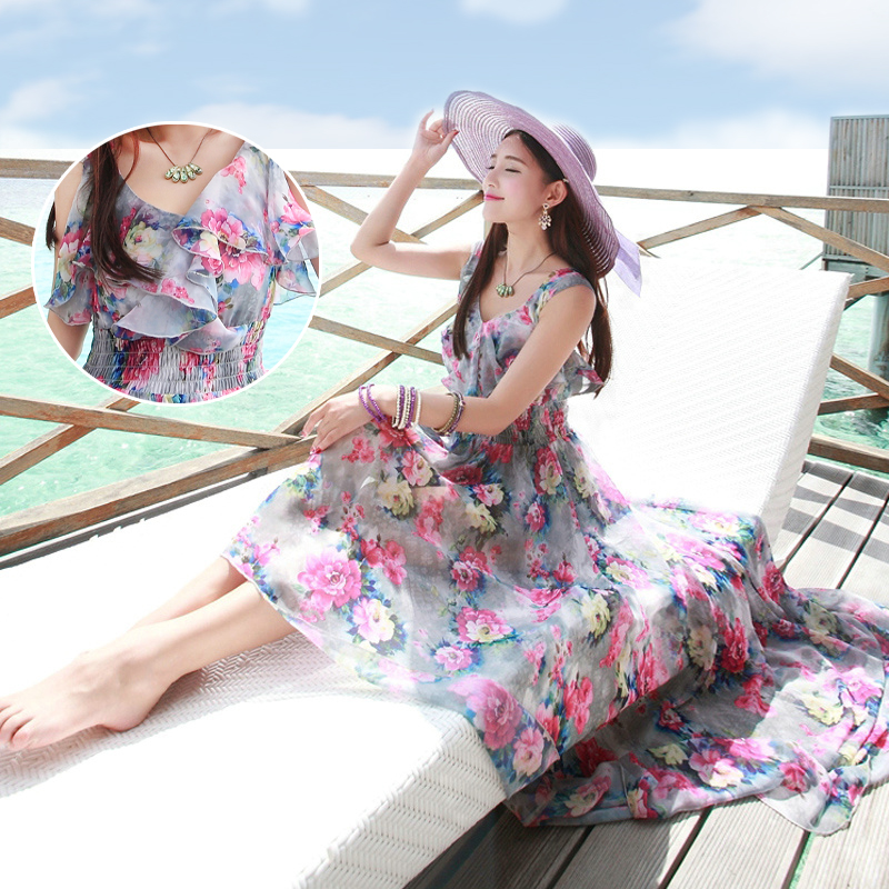 2016 New Bohemian Chiffon Dress Slim Thin Female Summer Seaside Resort Beach Suspenders Floral Ankle Length