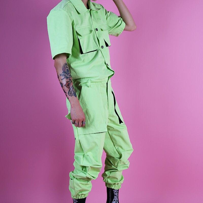 Männer Street Hip Hop Mode Overalls Hosen Sommer Multi Taschen Cargo Overalls Männlichen Kurzarm Sänger Tänzer Bühne Kleidung Ausgereifte Technologien