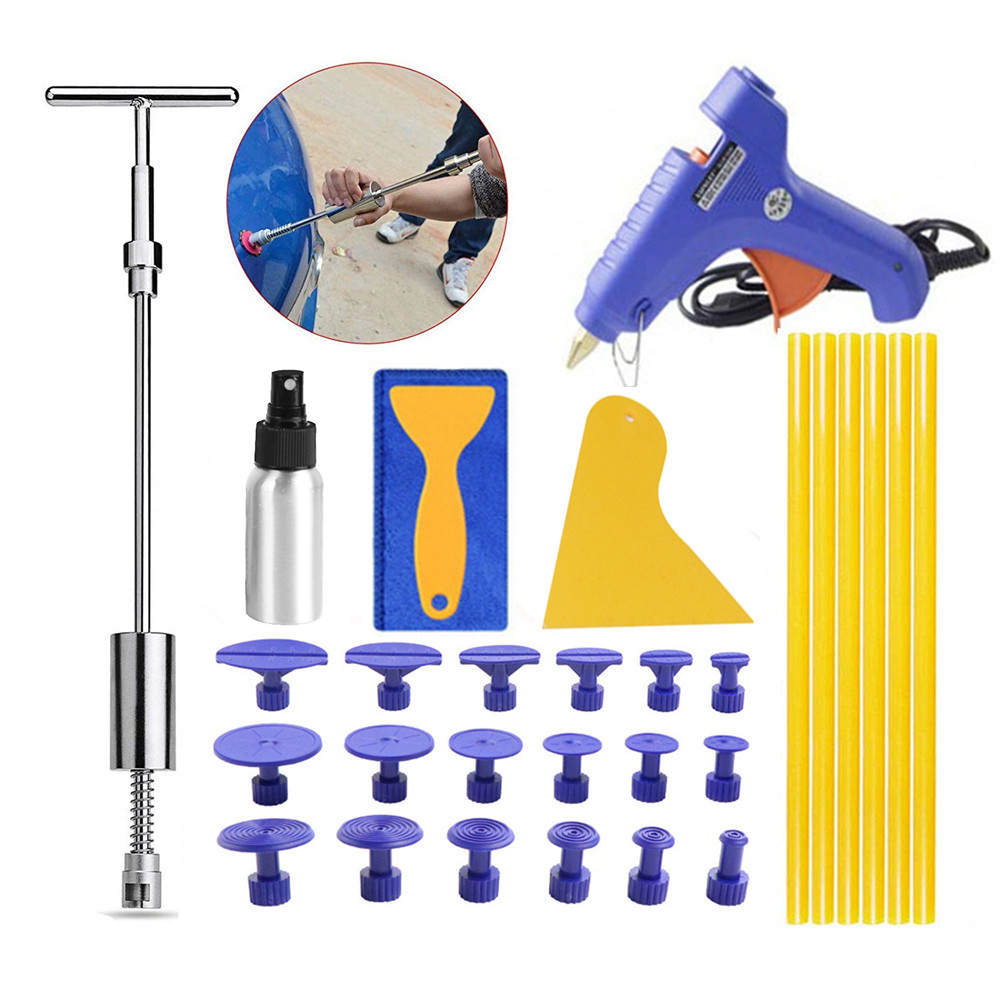 PDR Tools Glue Puller Set Car Dent Repair Kit Paintless Hail Dent Remover Slide Hammer Tabs Glue Gun Hand Set DIY Repair Tools