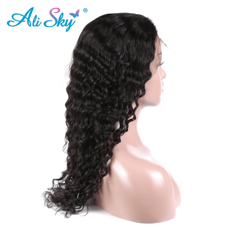 Lace Wigs Sincere Ali Sky Hair Deep Curly Lace Front Human Hair Wigs Brazilian Non Remy Hair Wig With Baby Hair Pre Plucked Natural Color 150% Promoting Health And Curing Diseases Human Hair Lace Wigs