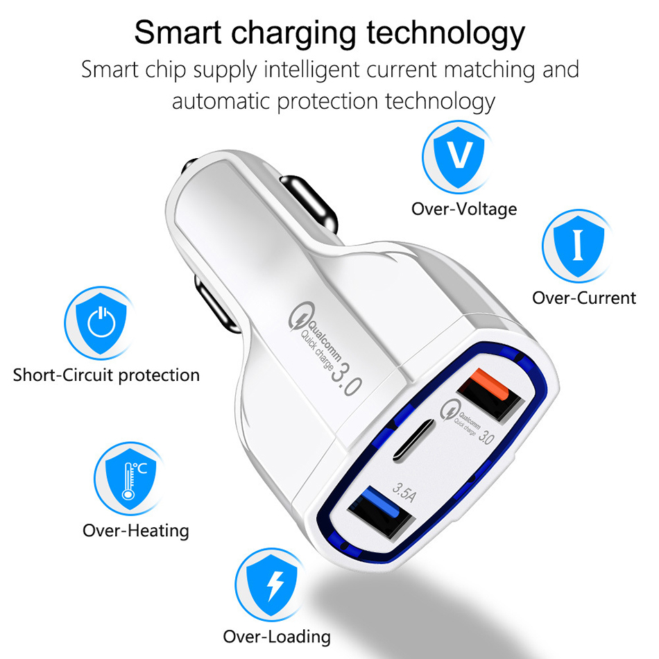 !ACCEZZ Universal Mini Double Port USB QC Car Charger Quick Charge 3.0 2.0 With LED Fast Type-C Car Phone Charger For Samsung S8 (6)