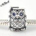 Authentic 925 Sterling Silver prata Coruja charme com azul suíço cristal e zircônia cúbica Serve Pandora Pulseiras & Bangle Jóias
