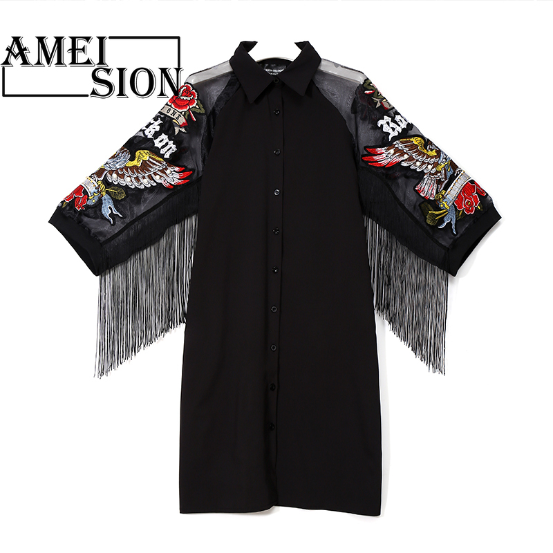2019 Women Black Shirt Dress 3 4 Mesh Sleeves Embroidery Patches amp Sashes Lady Cute Midi Party Club Wear Dress vestidos 3398 in Dresses from Women 39 s Clothing