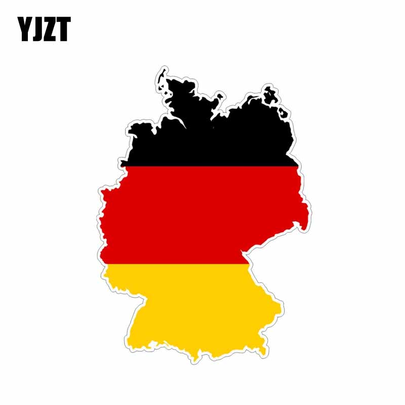 YJZT 10.3CM*14.5CM Car Accessories Germany Creative Stickers Map Flag PVC Decal 6-0604