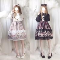 Japanese Sweet Lolita Vintage JSK Dress Steampunk Bear Doll Printed Elegant Girl Lace Trim Bow Women's Long Sleeve Dress