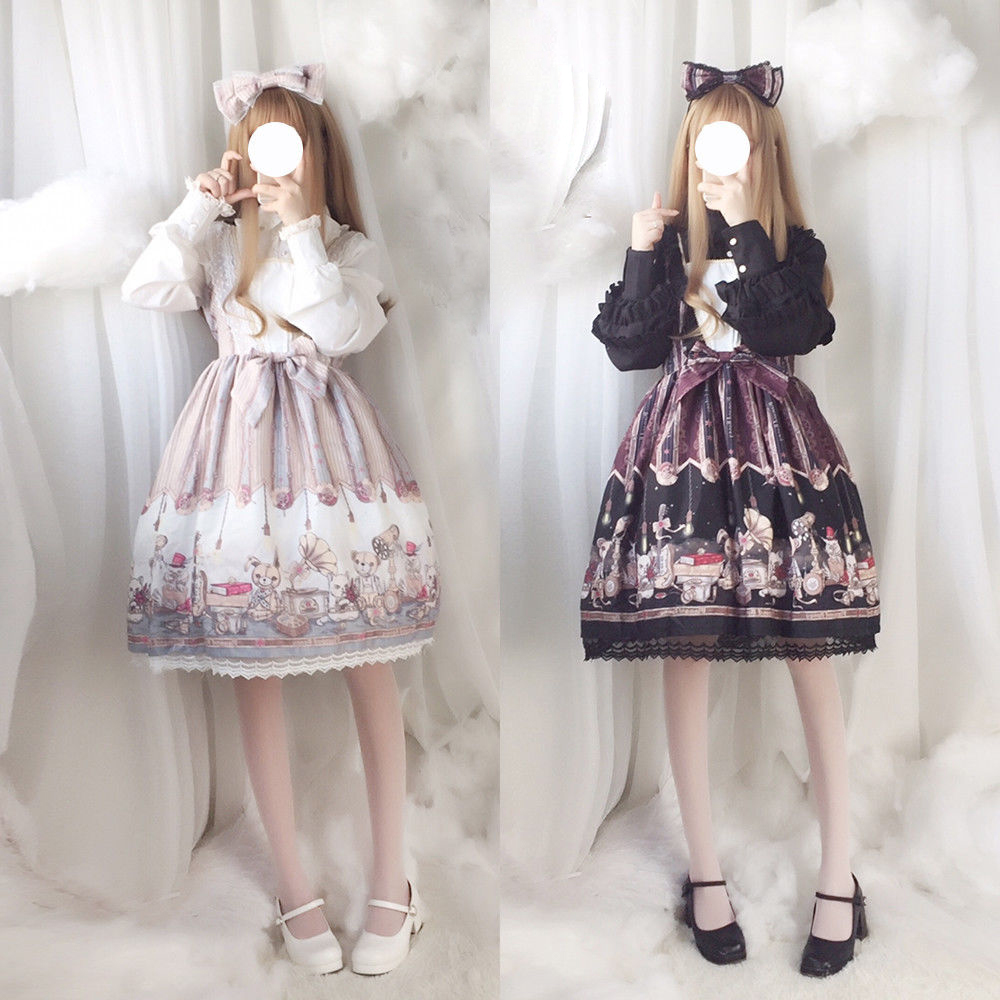 Japonais Doux Lolita Vintage JSK Robe Steampunk Ours Poupée Imprimé Fille Élégante Dentelle Arc Femmes de Robe À Manches Longues