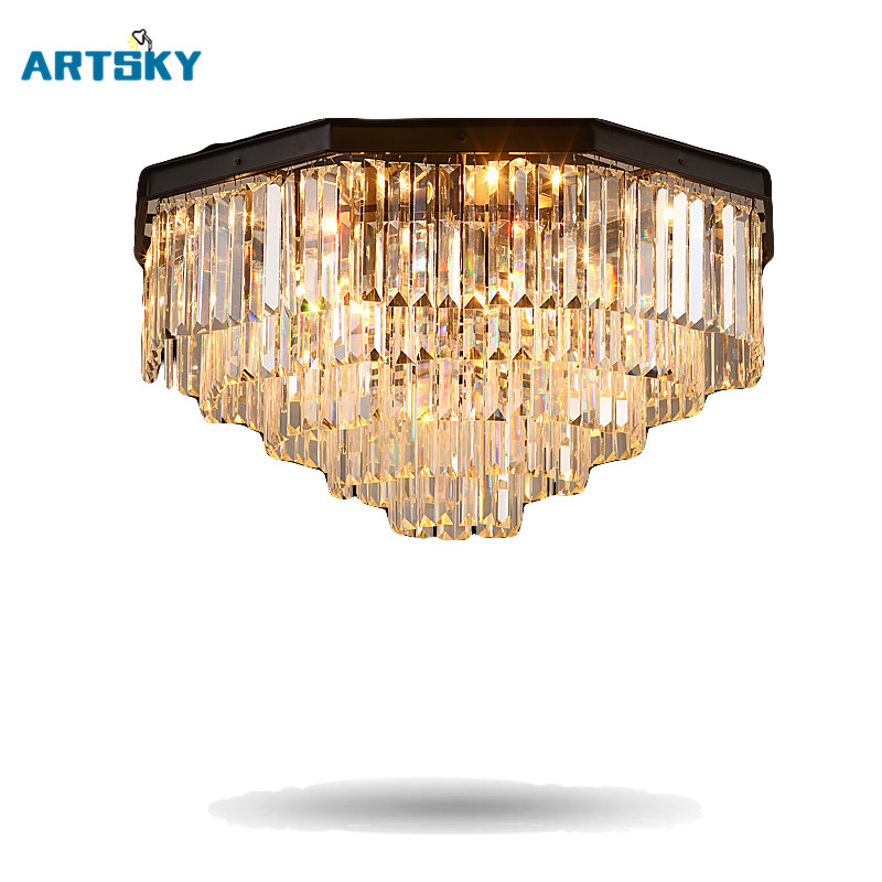 American  Retro Nostalgia Iron Crystal Ceiling Lights Creative Individuality Restaurant Hotel Living Room Bedroom Ceiling Lamps retro matte black iron ceiling light american industrial iron lights