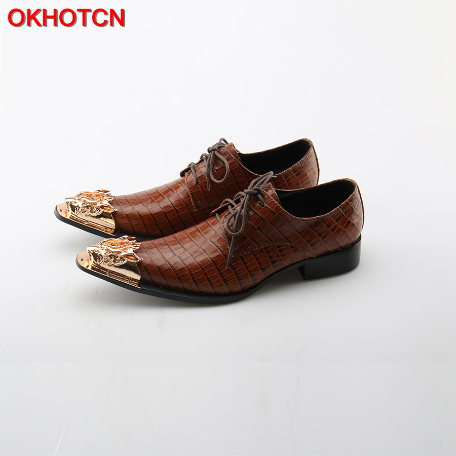 OKHOTCN Men Dress Shoes Luxury Metal Toe Brown Genuine Leather Shoes Lace Up Vintage Oxfords For Men Formal Office Men Shoes недорого