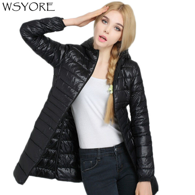 6e84a65d292 WSYORE Winter Women Ultra Light Down Jacket Duck Down Hooded Jackets Plus  Size Long Sleeve Slim
