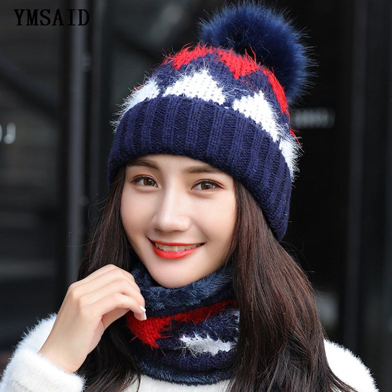Ymsaid Girl Warm Ski 2018 New Brand Big Fur PomPoms Warm Sweet Fashion Knit Hat Set Winter Women Beanie Thick Hat Scarf
