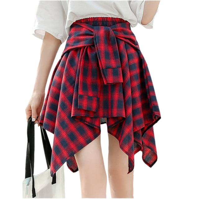 38ea5aaa9847 2018 Spring Summer Skirt Elatics High Waist Skirt Cute Irregular Plaid  Skirts Women Short Skirts