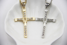 High Quality Fashion Jewelry Gold And Silver Charm The Fast And The Furious 7 Cross Pendant Necklace For Men