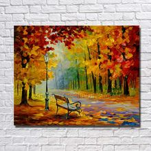 100% Hand-painted Landscape Night Street Chair Knife Modern Living Room Wall Art Canvas Painting Framework Picture On Wall