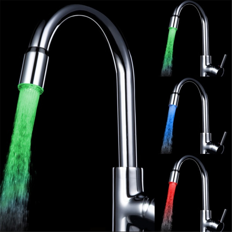 Colorful Temperature Sensor LED Kitchen Faucet sink light with color box and adaptor LD8002-A13
