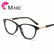 MARC Fashion 2019 Plastic Eyeglasses Women Clear lens Eye wear Cat eye Frame Glasses Vintage Metal Solid Resin Oculos 1