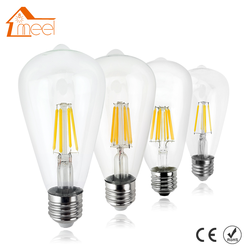 LED Dimmable Filament Blub E27 220V 240V ST64 Edison Bulb Antique Retro Vintage Glass Housing LED Bulb Lamp retro lamp st64 vintage led edison e27 led bulb lamp 110 v 220 v 4 w filament glass lamp