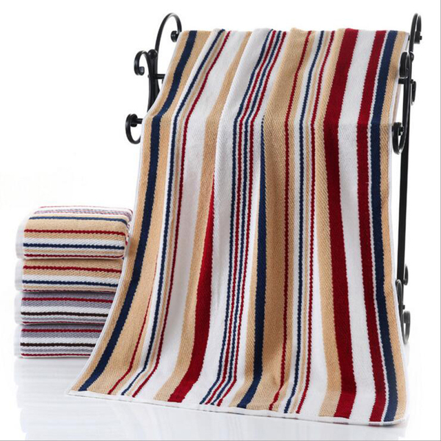 New Cotton Jacquard Sheared Bath Towel 70x140cm Colorful Striped Yarn Dyed  Towels Absorbent 375g Beach Towel