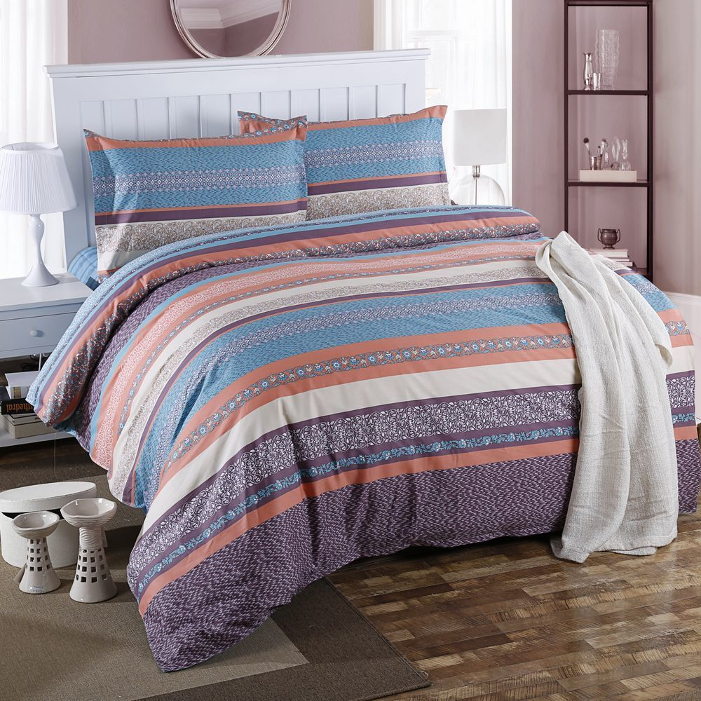 Plaid Bedding Set With Pillowcase Sheet For Boy 100% Cotton Queen Size Geometric Printed Home Duvet Cover Set Bed Line 200*230cm - 6
