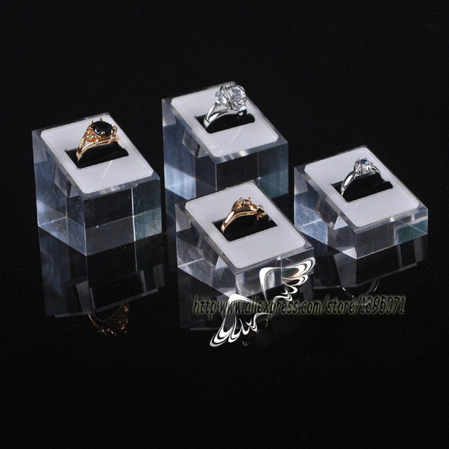 Wholesale 5sets High Low Square Acrylic Rings Holder Ring Display
