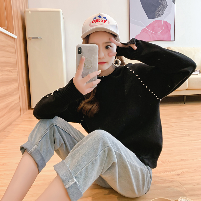 2019 Autumn/winter Women Sweaters Computer Knitted Casual Hooded Pullovers Beading Solid Women Sweaters and Pullovers 5194 50 29