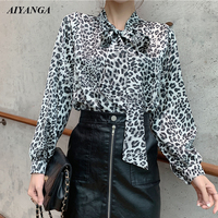 New Leopard print Chiffon Blouses Women 2019 Spring Shirts Long Sleeve Blouses Fashion Lace Up Bow Casual Shirt Female Tops