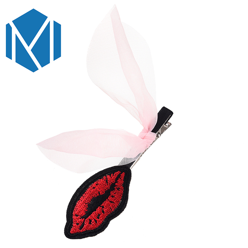 M MISM Fashion Red Lip Ribbon Bow Knot Hairgrip Korean Style Hairpins Hair Accessories Ornaments Hair Clip For Women Girls