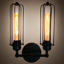 Lámparas clásicas de hierro forjado, candelabro de pasillo de restaurante, lámpara Industrial de viento de país americano, luz para cama de café Edison, luces de doble pared