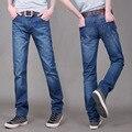 Calças dos homens Denim Jeans Reta Slim Fit Calças jeans Masculinas Outono Moda Clássica Business Casual Estilo Azul Rasgado Calças