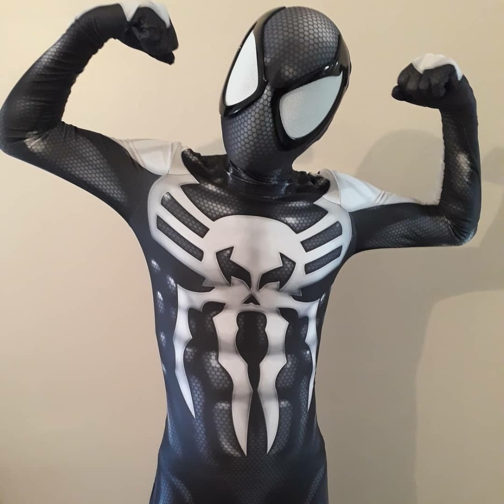 Halloween Mascot Cosplay 2099 Miguel O'Hara Spider-Man Super Hero Spiderman Costumes Fullbody Zentai Suit Man Lycra Jumpsuit