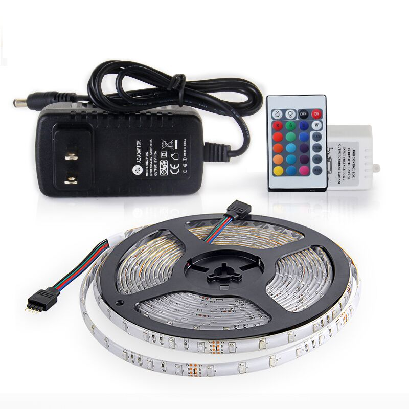 RGB LED Strip Waterproof SMD 2835 5M 300 LEDs Flexible Fita with Remote Controller DC 12V 2A Power Adapter Tape Lighting