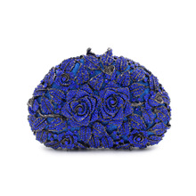 Blue/Red night clutch baggage rose flower form luxurious diamond clutch night baggage studded crystal marriage ceremony Bride occasion purse