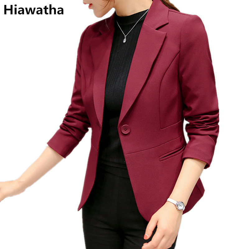 Hiawatha 2017 Single Button Women Blazer And Jackets Fashion Slim Wine red/Blue Blazers Feminina Autumn Long Sleeve Coat BL009 ...