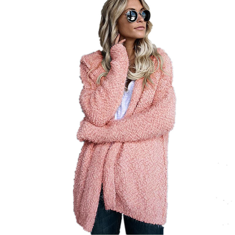 Winter Women Long Sleeve Coat Harajuku Casual Jacket Ladies Loose Cashmere Cardigan Cotton Outwear Coats And Jackets Jk03