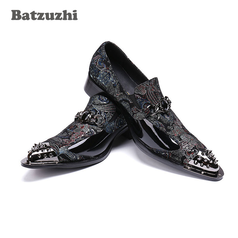 Sapatos 46 Luxo Moda Homens Ponta Marca De Metal Homens Formal Preto Couro Apontou Batzuzhi Genuíno Dos Negócios qw1Yxw4