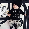 Baby Boys Clothing Set Spring Cotton Letter Patterned Baby Boys Clothes Set Black T Shirt Pant 2pcs Set